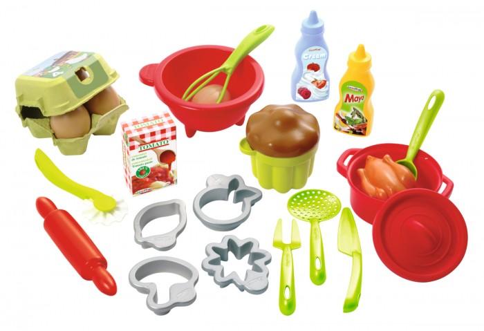 Ecoiffier Набор посуды с продуктамиНабор посуды с продуктамиНабор посудки Ecoiffier с продуктами обязательно привлечет внимание вашей малышки, ведь он содержит все необходимое для того, чтобы маленькая хозяйка могла создавать кулинарные шедевры - выпечку! Так приятно будет угощать своих друзей или любимых кукол.    В комплекте:    посудка: чаша для взбивания, кастрюлька с крышкой, форма для кекса.   Кухонные принадлежности: скалка для раскатывания теста, фигурные формочки для печенья, шумовка, большие нож, вилка и ложка.   Продукты питания: кекс, баночки с соусами, курица, яйца в коробке, коробочка со смесью для выпекания.<br>