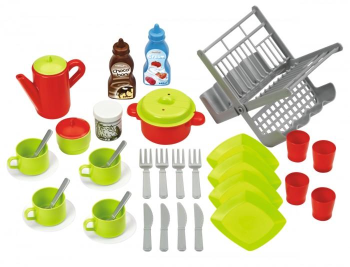 Ecoiffier Набор посуды с сушилкойНабор посуды с сушилкойНабор посуды Ecoiffier с сушилкой   С помощью такого игрового набора можно приготовить и завтрак, и обед, и ужин для своих игрушек или друзей.   С таким большим набором можно устроить настоящее застолье. Игровой набор посуды с подносом отлично совмещается с другими наборами посуды и отлично дополнит и разнообразит их. Эта игрушка будет развивать воображение и чувство заботы, тренировать мелкую моторику и тактильные навыки у ребенка.   В комплекте:    поднос,   тарелки,   стаканы,  чайник,   ложки и вилки,  сковорода и кастрюля<br>