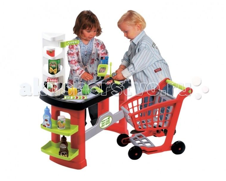 Ecoiffier Супермаркет с тележкойСупермаркет с тележкойСупермаркет с тележкой Ecoiffier позволят вашему ребенку побыть в образе покупателя или продавца. Он сам сможет взять необходимый продукт с витрины и поместить его в игрушечную корзину, а затем рассчитаться на кассе.   Такие сюжетно-ролевые игры замечательно помогают детям развивать мышление и логику, а также научат как вести себя в определенных общественных местах.   В комплекте:    кассовая стойка,   кассовый терминал,   тележка для продуктов,   стойка для продуктов,  терминал для оплаты картой,   игрушечные продукты,   электронные весы,   сканер штрих-кода,   игрушечные деньги,   ценники.   Размер игрушки: 61 х 34 х 71 см<br>
