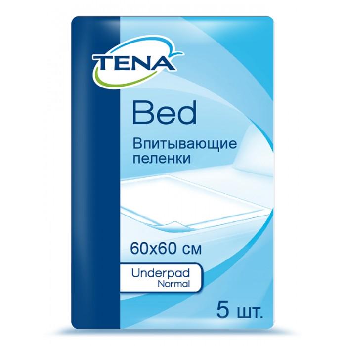 Tena Пеленки Bed Underpad Normal 60x60 см 5 шт.Пеленки Bed Underpad Normal 60x60 см 5 шт.Tena Пеленки Bed Underpad Normal предназначены для дополнительной защиты постельного белья.   Особенности: Верхний слой из мягкого нетканого материала приятен на ощупь.  Внутренний впитывающий слой из распущенной целлюлозы обеспечивает впитывание жидкости.  Непромокаемый нижний слой предотвращает протекание на белье. Размер 60х60 см, впитываемость 730<br>