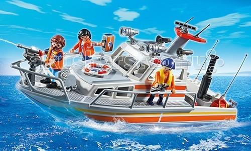 Конструктор Playmobil Береговая охрана: Спасательный крейсерБереговая охрана: Спасательный крейсерБереговая охрана: Спасательный крейсер подарит крохе незабываемые приключения.  Отправляясь в море для спасательной экспедиции, ребенок полностью подготавливает свою лодку - он снимает крышку с топливного бака и заполняет его водой, вентиль при этом должен быть закрыт, так как при закачивании насосом воды поднимается давление.  При необходимости вентиль отворачивается, и из пистолета льется под напором вода.   С помощью инструментов тушится огонь на пылающем корабле.  Упавших в воду людей спасают с помощью спасательного круга.  Если они сидят на плоту, то, зацепив тросом, его можно отбуксировать на сушу.  Пострадавшим спасатель может оказать первую помощь, используя инструменты и медикаменты из аптечки.   Во время плавания крыша с капитанского отсека может быть снята и руль, стол и скамейка будут под открытым небом. Пожар всегда опасен, на море он или на суше, тушить необходимо быстро, поэтому водяной пистолет пригодится во время экспедиции по спасению.  Ребенок учится быть ответственным и внимательным.   Малыш будет знать, что с огнем играть нельзя, и к чему приводит невнимательность и баловство, он научится оказывать первую помощь и разовьет моторику пальцев, работая с мелкими деталями.   Так же во время игры у крохи будет развиваться воображение и образное мышление. Конструкторы можно дополнить спасательным плотом (5545pm). Лодка может быть усовершенствована подводным двигателем.  Размеры игрушки от Playmobil 40*18*17см.  Продукция сертифицирована, экологически безопасна для ребенка, использованные красители не токсичны и гипоаллергенны.<br>