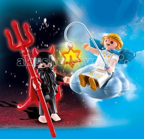 Конструктор Playmobil Дополнения: Ангел и ДемонДополнения: Ангел и ДемонДополнения: Ангел и Демон помогут ребенку разобраться в понятиях добра и зла.  Сражение добра и зла встречается во многих мультфильмах, и дети также хотят оказаться на той или иной стороне чтобы вступить в сражение и доказать, что они сильные и ловкие.   Игровые наборы Playmobil помогут создать интересную сцену.  Демон одет во все черное, на голове у него шлем с красными рогами, а на плечах плащ с хвостом, а в руках огненный трезубец.   Демон стоит на земле и старается дотянуться до ангела.  Висящее в небе облако поддерживает крылатого ангела, у него на голове золотой обруч, а в руке удочка со звездой.  За спиной у ангела голубые крылья, а одет он в белые одежды.  Конструкторы можно использовать в комплекте или отдельно.  В набор от Playmobil включена фигурка ангела с фонариком в виде звезды, венок на голову ангелу, крылья и облако.   К фигурке демона идет трезубец, шлем с рогами, накидка с хвостом и борода. Ребенок может играть с ангелом и демоном, устраивать противостояния между ними и создавать периоды перемирия. Игрушка учит ребенка уважать и ценить добро, стараться быть праведным, малыши начинают понимать разницу между ангелом и демоном, развивают воображение и образное мышление.  Продукция сертифицирована, экологически безопасна для ребенка, использованные красители не токсичны и гипоаллергенны.<br>