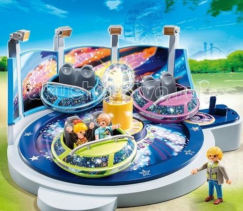 Конструктор Playmobil Парк Развлечений: Аттракцион Звездолет с огнямиПарк Развлечений: Аттракцион Звездолет с огнямиПарк развлечений: Аттракцион «Звездолет с огнями» - красивый аттракцион для развлечений и катания игрушечных человечков.  Усевшись в летающую тарелку с удобными сидениями, фигурки будут крутиться вокруг своей оси и по кругу возле светящегося шара.   Конструкторы позволят усаживать пассажиров в разные тарелки.  Вокруг на парк развлечений светят фонари и прожектора.  Можно крутить карусель вручную или подсоединить мотор (арт. 5556pm), тогда запуск будет выполняться автоматически, и парк оживет.  Яркий стеклянный шар посередине является центром карусели, тарелки симметрично размещены вокруг него.  В игровые наборы Playmobil входит карусель с тремя тарелками, три фигурки человечка.  Ребенок может представить себя управляющим карусели, он будет выписывать билеты желающим покататься и запускать карусель, так же он может представить себя посетителем и кататься со своими игрушками, поднимаясь вверх или опускаясь вниз.  Игрушка от Playmobil знакомит ребенка с новыми понятиями.  Яркие цвета помогают развиваться зрительному восприятию.  В процессе игры ребенок узнает много нового, становится любознательным.   Продукция сертифицирована, экологически безопасна для ребенка, использованные красители не токсичны и гипоаллергенны.<br>