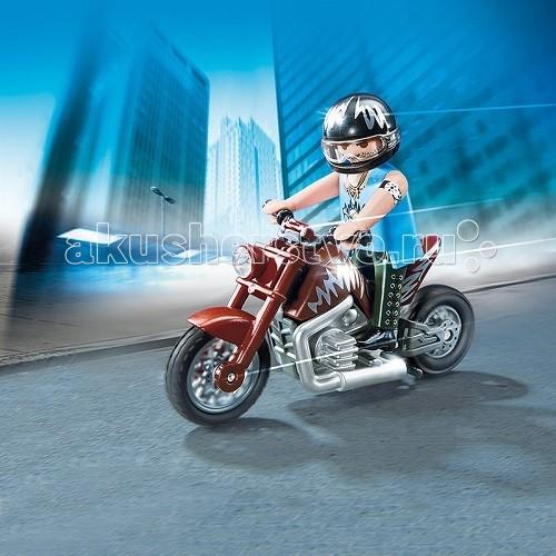 Конструктор Playmobil Коллекция мотоциклов: Коричневый мотоциклКоллекция мотоциклов: Коричневый мотоциклКоллекция мотоциклов: Коричневый мотоцикл  Коллекция мотоциклов: Коричневый мотоцикл обязательно понравится ребенку.  Красивые игровые наборы Playmobil помогут в создании настоящего гоночного соревнования. Прочная вилка мотоцикла заканчивается колесом с широкой шиной.  Сверху над колесом расположено коричневое крыло, а впереди находится круглая фара.   Руль прочный и удобный.  Бак расписан зигзагом белого цвета.  Мотор и патрубки серебристые.  Сидение у мотоцикла рассчитано на одного человека.  Заднее колесо закреплено на прочной раме.   На мотоцикле сидит гонщик-мотоциклист в шлеме, на нем надета синяя безрукавка, а на руке находится железный обруч. Ноги байкера обуты в кожаные туфли.  Конструкторы включают большой коричневый мотоцикл и фигурку байкера.  Ребенок может придумать интересные соревнования или просто катать мотоцикл с седоком по улицам городка.   Скоростной мотоцикл домчит мотоциклиста в любой район быстро и с ветерком.  С мотоциклом можно совершать разные трюки и участвовать в спортивных соревнованиях, показывая фигуры высшего мастерства.  Игрушка от Playmobil учит ребенка сосредотачиваться на одном предмете.  Во время игры у крохи разовьется образное мышление и воображение, внимание и логика.   Ребенок придумает много увлекательных игровых моментов.  Покупать коричневый мотоцикл рекомендуется детям от 4 лет.  Продукция сертифицирована, экологически безопасна для ребенка, использованные красители не токсичны и гипоаллергенны.<br>
