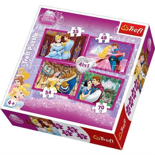 Trefl Набор пазлов 4 в 1 с принцессами Дисней для девочек - Влюбленные парыНабор пазлов 4 в 1 с принцессами Дисней для девочек - Влюбленные парыTrefl Набор пазлов 4 в 1 с принцессами Дисней для девочек - Влюбленные пары - идеально подойдет в качества подарка для маленьких принцесс.   С таким набором можно собрать не один, а целых четыре пазла, что позволит Вашей малышке начать коллекцию тематических картинок, на которых нарисованы диснеевские принцессы вместе со своими возлюбленными.   Пазлы имеют по 35, 48, 54 и 70 элементов. Набор выполнен из качественных и прочных материалов, он не токсичный, противоаллергенный и безопасный для детского здоровья.   Размер готового пазла: 15 х 12 см  Количество элементов: 207 шт<br>