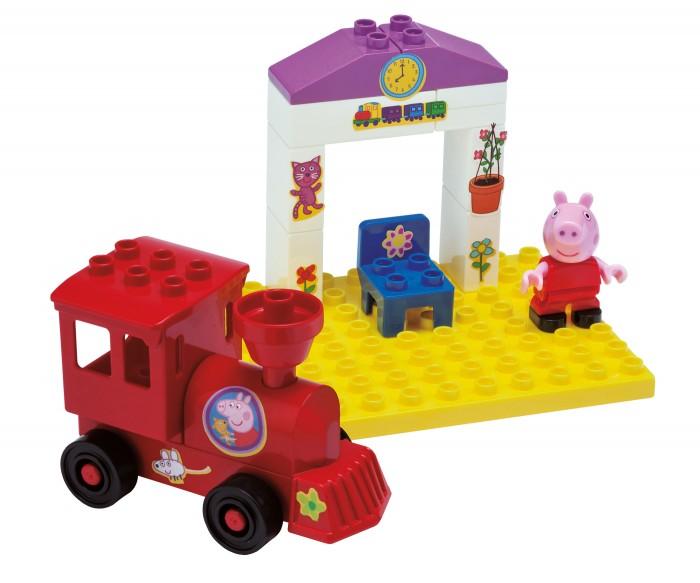 Конструктор BIG Peppa Pig Поезд с остановкой 15 деталейPeppa Pig Поезд с остановкой 15 деталейКонструктор BIG поезд с остановкой Peppa Pig  Очаровательная Свинка Пеппа ожидает отправления поезда на железнодорожной станции.   Лапки фигурки Пеппы и ее голова подвижны, в лапках помещаются мелкие предметы. Паровозик на колесиках быстро едет по гладкой поверхности, Peppa отправляется в увлекательное путешествие вместе с вашим малышом!<br>