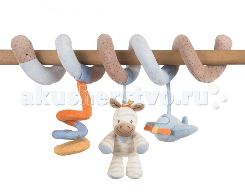 Nattou Toy spiral Arthur &amp; Louis Зебра и НосорогToy spiral Arthur &amp; Louis Зебра и НосорогПодвеска-спираль для малышей Toy spiral Arthur & Louis Зебра и Носорог  Характеристики:  мягкая игрушка для малышей очень нежный и приятный на ощупь материал  легко крепится на бортах кровати, детских стульчиках и любых горизонтальных планках три мягкие подвесные игрушки способствует развитию мелкой моторики и воображения<br>