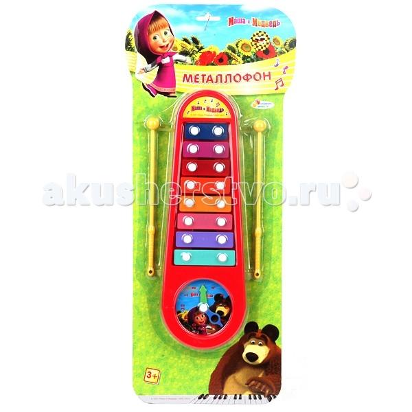 Музыкальная игрушка Играем вместе Металлофон Маша и Медведь с часами