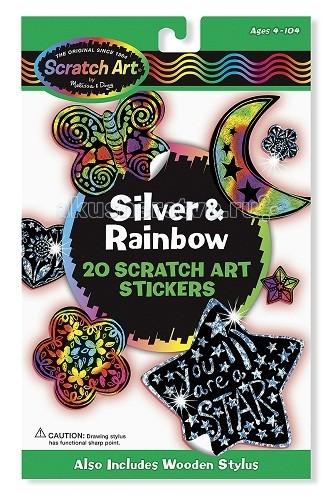 Melissa & Doug Набор для творчества Scrach Art Набор стикеров серебро и радуга