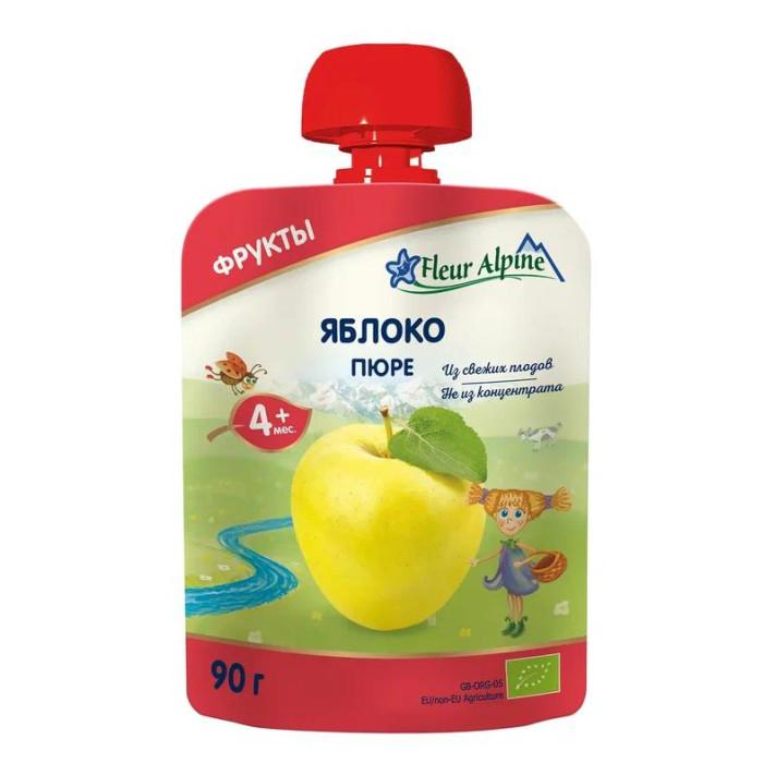 Fleur Alpine Пюре Органик яблоко с 4 мес. 90 г (пауч)Пюре Органик яблоко с 4 мес. 90 г (пауч)Детское пюре в мягкой упаковке «Яблоко» для детей с 4 месяцев.  Детское пюре Fleur Alpine ORGANIC Яблоко приготовлено из гипоаллергенных сортов яблок.  Яблочное пюре рекомендуется вводить в рацион малыша как один из первых продуктов прикорма.  Яблоки богаты природными сахарами, органическими кислотами, витаминами и микроэлементами.  Железо в сочетании с витамином С хорошо всасывается в кишечнике, способствуя профилактике анемии.  Пектины и органические кислоты мягко стимулируют деятельность кишечника.  Калий и магний укрепляют сердечно-сосудистую систему.  Состав: пюре из яблок* - *органическое сельское хозяйство Особенности продукции:  Без сахара  Без крахмала  Способ приготовления:  Продукт готов к употреблению.   Преимущества детского пюре в мягкой упаковке Fleur Alpine ORGANIC: Содержат только природные витамины и минералы, которые сохраняются благодаря минимальному применению тепла и давления в процессе органического производства Без добавления сахара, соли, крахмала, муки, витаминов, воды Без ГМО, ароматизаторов, красителей и консервантов Все виды пюре соответствуют российским традициям вкуса, так как производятся из наиболее популярных в России фруктов, ягод и овощей Имеют восхитительный вкус и аромат фруктов и овощей из хозяйств ORGANIC<br>