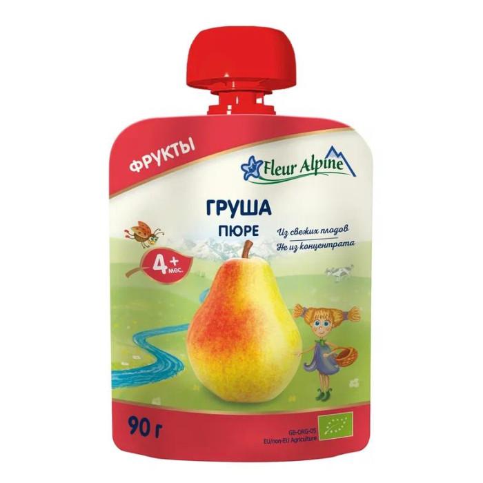 Fleur Alpine Пюре Органик груша с 4 мес. 90 г (пауч)Пюре Органик груша с 4 мес. 90 г (пауч)Детское пюре в мягкой упаковке «Груша» для детей с 4 месяцев.  Детское пюре Fleur Alpine ORGANIC Груша приготовлено из гипоаллергенных сортов груш.  Грушевое пюре содержит витамины С, Р и каротин. Помимо таких микроэлементов как кальций, фосфор, калий, груша особенно богата цинком.  Высокое содержание фолиевой кислоты улучшает кроветворение, что особенно важно для малышей. Грушевое пюре нормализует работу ЖКТ, оказывает легкое закрепляющее действие.  Состав: пюре из груш* - *органическое сельское хозяйство Особенности продукции:  Без сахара  Без крахмала  Способ приготовления:  Продукт готов к употреблению.   Преимущества детского пюре в мягкой упаковке Fleur Alpine ORGANIC: Содержат только природные витамины и минералы, которые сохраняются благодаря минимальному применению тепла и давления в процессе органического производства Без добавления сахара, соли, крахмала, муки, витаминов, воды Без ГМО, ароматизаторов, красителей и консервантов Все виды пюре соответствуют российским традициям вкуса, так как производятся из наиболее популярных в России фруктов, ягод и овощей Имеют восхитительный вкус и аромат фруктов и овощей из хозяйств ORGANIC<br>