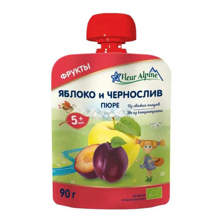 Fleur Alpine Пюре Органик яблоко-чернослив с 5 мес. 90 г (пауч)