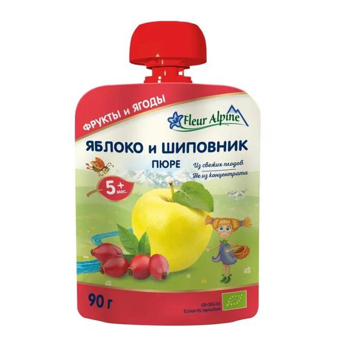 Fleur Alpine Пюре Органик яблоко-шиповник с 5 мес. 90 г (пауч)Пюре Органик яблоко-шиповник с 5 мес. 90 г (пауч)Детское пюре ORGANIC в мягкой упаковке для детей с 5 месяцев.  Яблочное пюре рекомендуется вводить в рацион малыша как один из первых продуктов прикорма.  Яблоки богаты природными сахарами, органическими кислотами, витаминами и микроэлементами.  Железо в сочетании с витамином С хорошо всасывается в кишечнике, способствуя профилактике анемии.  Пектины и органические кислоты мягко стимулируют деятельность кишечника.  Калий и магний укрепляют сердечно-сосудистую систему.  Зрелые плоды шиповника содержат на 100 г 14-60 г воды, 1,6-4 г белков, 24-60 г углеводов, 4-10 г пищевых волокон, 2-5 г свободных органических кислот; а так же большое количество минералов (калий, натрий, кальций, магний, фосфор, железо, медь, марганец, хром, молибден, кобальт) и витаминов (B1, В2, B6, K, E, РР, С) дубильные, красящие вещества, каротин, рибофлавин, лимонная и яблочная кислоты, сахары, фитонциды, эфирные масла. Витамина С в шиповнике в 5-10 раз больше, чем в черной смородине, в 40 раз больше, чем в лимонах. Шиповник очищает кровеносную систему, улучшает обмен веществ, богат витаминами, применяется при малокровии, цинге, при болезнях почек и мочевого пузыря, печени.  Состав: пюре из яблок, пюре шиповника* - *органическое сельское хозяйство Особенности продукции:  Без сахара  Без крахмала  Способ приготовления:  Продукт готов к употреблению.   Преимущества детского пюре в мягкой упаковке Fleur Alpine ORGANIC: Содержат только природные витамины и минералы, которые сохраняются благодаря минимальному применению тепла и давления в процессе органического производства Без добавления сахара, соли, крахмала, муки, витаминов, воды Без ГМО, ароматизаторов, красителей и консервантов Все виды пюре соответствуют российским традициям вкуса, так как производятся из наиболее популярных в России фруктов, ягод и овощей Имеют восхитительный вкус и аромат фруктов и овощей из хозяйств ORGANIC<br>