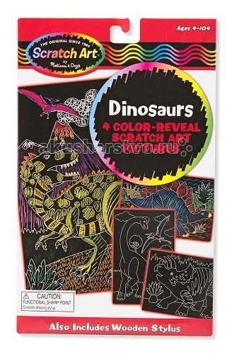 Melissa &amp; Doug Набор для творчества Scrach art ДинозаврыНабор для творчества Scrach art ДинозаврыMelissa & Doug Scrach art Динозавры - техника, которой предстоит овладеть юному художнику, проста и в тоже время интересна своей необычностью.   В наборе: 4 картинки, деревянный стилус.  Благодаря этому набору, у ребенка вырабатывается усидчивость, точность движений, стремление к достижению конечной цели, а также развивается фантазия.<br>