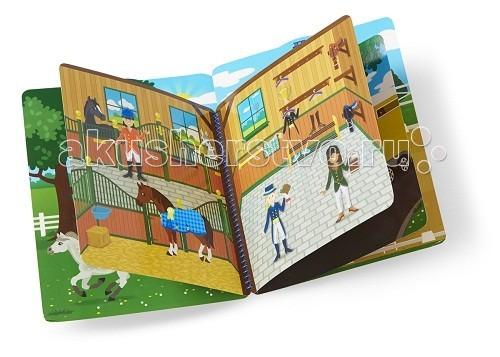 Melissa &amp; Doug Набор делюкс со стикерами - сценаНабор делюкс со стикерами - сценаMelissa & Doug Набор делюкс со стикерами - сцена - дайте волю воображению Вашей малышке, купив ей этот набор для творчества.  139 многоразовые наклейки, 10 страниц и различные сцены на каждой странице.   Игровой набор предлагает детям одеть всадников, седла лошадям, переверните страницу чтобы перейти на пастбище, конюшню, конное шоу и многое другое.<br>