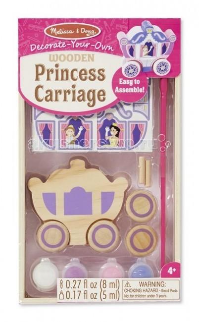 Melissa &amp; Doug Раскрась Карету принцессыРаскрась Карету принцессыMelissa & Doug Раскрась Карету принцессы - техника, которой предстоит овладеть юному художнику, проста и в тоже время интересна своей необычностью.   Набор для творчества, с помощью которого ваш ребенок сможет создать оригинальную карету для принцессы.   Набор включает в себя: деревянную заготовку кареты, колеса, оси, наклейки, краски, кисть и клей.<br>