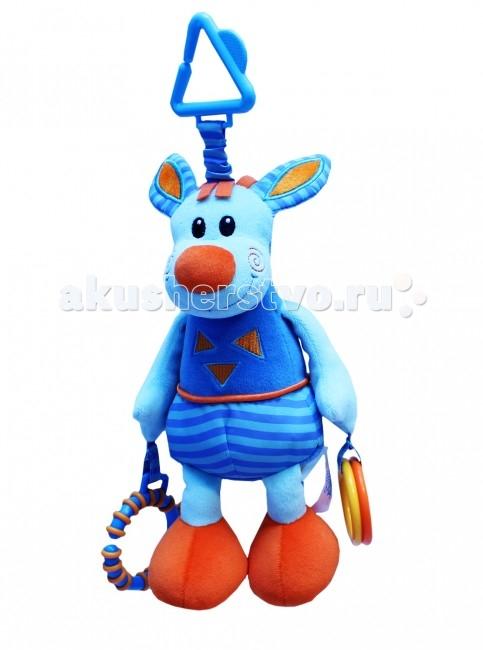 Подвесная игрушка Roxy Ослик Бурро со звукомОслик Бурро со звукомОслик Бурро со звуком - развивающая игрушка со встроенной колыбельной мелодией. Пищалки в ногах, шуршащие элементы в ушах.   При помощи специальной пластиковой прищепки игрушку можно с легкостью закрепить на кроватке, коляске или игровой дуге малыша Игрушка поможет развить цветовое и звуковое восприятие, тактильные ощущения и мелкую моторику рук ребенка. Игрушка помогает ребенку развивать ручки и пальчики, совершать точные движения, хватать и управлять объектами.  Яркие образы и цвета развивают визуальное восприятие окружающего мира ребенка, а встроенные звуковые эффекты развивают слуховое восприятие у ребенка.  Удобное крепление.  Размер - 22 см.<br>