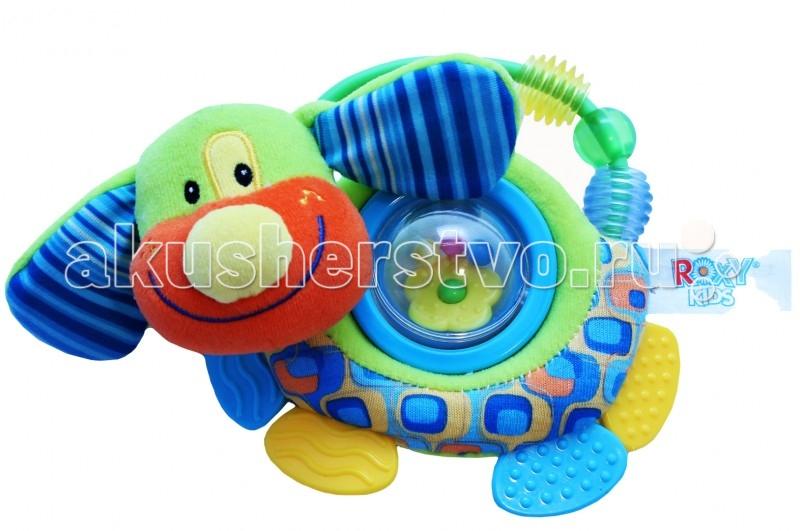 Развивающая игрушка Roxy Щенок Руру с прорезывателем и погремушкойЩенок Руру с прорезывателем и погремушкойЩенок Руру с прорезывателем и вращающимся шариком с погремушкой.  Яркие цвета способствуют развитию цветовой памяти и зрения. Хватая и трогая маленький предмет, малыш формирует хватательные навыки и тактильные ощущения.   производится из высококачественных материалов и безвредных красителей яркий дизайн легкий вес специально для малышей форма погремушки удобная для маленьких ручек мыть в теплой воде с мылом все края закруглены для безопасности размер: 16 см.<br>