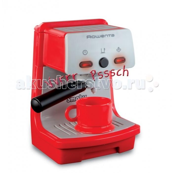 Smoby Кофеварка RowentaКофеварка RowentaКофеварка Smoby Rowenta станет отличным дополнением на игровой кухне любой маленькой хозяйки.   С помощью этой игрушки ребенок будет воссоздавать различные ситуации из жизни в игровой форме, развивая свои воображение и фантазию. Кофеварка представляет собой уменьшенную копию бытового устройства, имитирующую звуки приготовления кофе. В комплекте прилагается кофейная кружка. Изделие изготовлено из качественного пластика и работает на батарейках АА (в комплект не входят).<br>