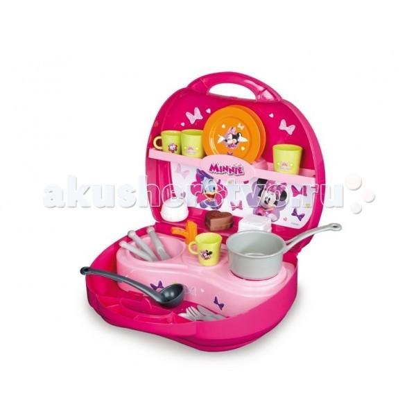 Smoby Мини кухня в чемоданчике МинниМини кухня в чемоданчике МинниМини кухня в чемоданчике Smoby Minnie Mouse  – прекрасная кухня в сладком розовом цвете для готовки разных блюд для кукол и мягких любимых игрушек.  Мини-кухня помещается в чемоданчике с ручкой. На кухне имеются одноконфорочная плита, раковина с краном, сушилка для посуды, а также две полки для продуктов и посуды.   В наборе:    кастрюля  половник  3 пирожных  2 тарелки  2 чашки  2 стаканчика  2 вилки  2 ножа  2 ложки<br>