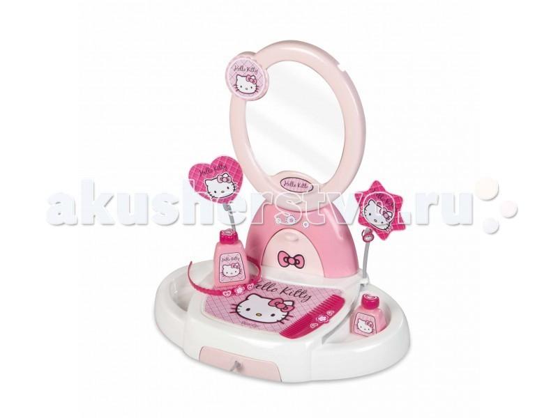 Smoby Туалетный столик Hello KittyТуалетный столик Hello KittyТуалетный столик Smoby Hello Kitty - отличное место для наведения марафета маленькой модницы. Она с удовольствием будет раскладывать на нём все необходимые для красоты аксессуары, смотреться в зеркало. Такой процесс будет приучать Вашу малышку к аккуратности и порядку. Туалетный столик выполнен в розовом цвете, в стиле Hello Kitty. Теперь маленькая модница имеет всё самое необходимое, чтобы ухаживать за собой.   Особенности:    удобный туалетный столик с зеркалом и ящиками для украшений;  в наборе есть два флакона для духов;  колечко, расчёска и ободок - необходимые аксессуары для маленькой модницы.<br>