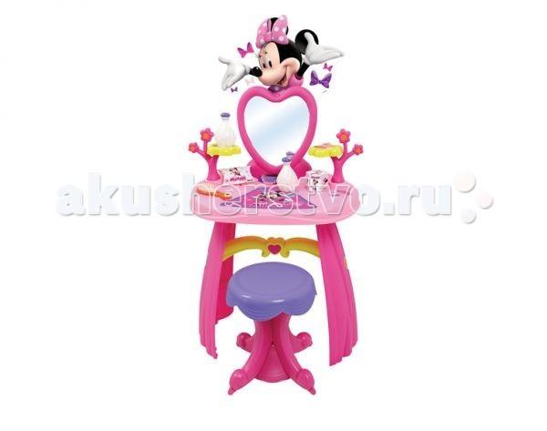 Smoby Туалетный столик MinnieТуалетный столик MinnieТуалетный столик Smoby Minnie - отличное место для наведения марафета маленькой модницы. Она с удовольствием будет раскладывать на нём все необходимые для красоты аксессуары, смотреться в зеркало. Такой процесс будет приучать Вашу малышку к аккуратности и порядку. Туалетный столик выполнен в розовом цвете, в стиле Minnie. Теперь маленькая модница имеет всё самое необходимое, чтобы ухаживать за собой.   Особенности:    Туалетный столик обустроен высочайшей стойкой, зеркалом (можно наклонять), комфортным табуретом и обилием отсеков для украшений.  В набор заходит:2 ободка, 3 кольца, 1 браслет, гребешок и 2 флакона для духов.  Столик можно снять со стойки и использовать раздельно.  Столик украшен прекрасной мышкой Minnie.<br>