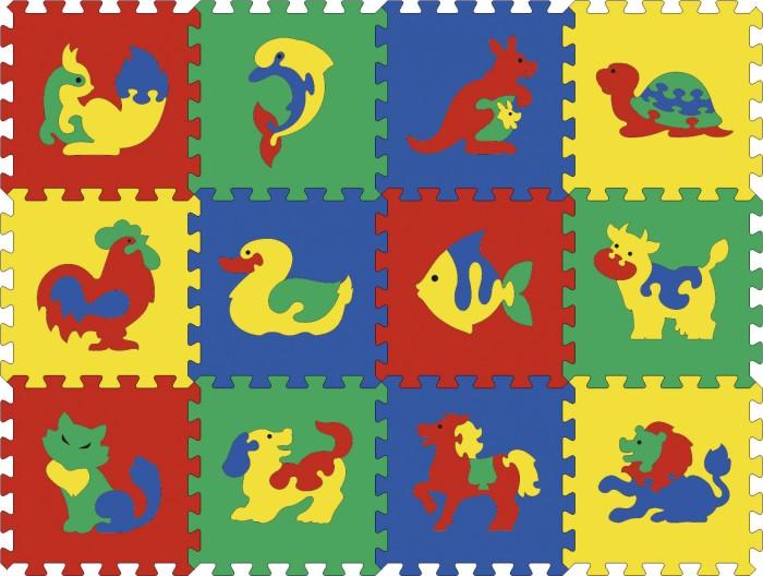Игровой коврик Тедико с животными 12 деталейс животными 12 деталейВ наборе 12 панелек со сборными изображениями животных. Соединяются панельки друг с другом по принципу пазлов.  В возрасте с полутора до 4-5 лет все без исключения дети обожают вставлять фигурки в подходящие рамочки и выдавливать их от туда.  Через это происходит развитие логики, восприятия формы и цвета, ребенок учится соотносить формы друг с другом. Тренеруется мелкая моторика. Этот набор также знакомит ребенка с животным миром.  Из напольной мазаики можно собирать как плоские так и объемные объекты. Самый распространенный вариант - это собрать коврик. Он еще удобен тем, что на нем можно сидеть: малышу будет мягко и тепло.   С такой мозаикой также можно играть в ванной.   Детали выполнены из мягкого полимерного материала.  Размер коврика: 95 х 123 см.<br>