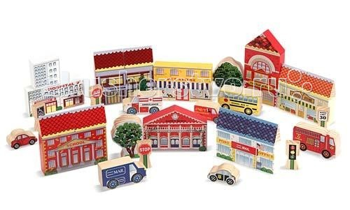 Деревянная игрушка Melissa &amp; Doug Классические игрушки Город из кубиков 35 деталейКлассические игрушки Город из кубиков 35 деталейДеревянная игрушка Melissa & Doug Классические игрушки Город из кубиков 35 деталей - великолепный выбор для Вашего малыша. Из 35 деревянных элементов этого конструктора можно собрать современный город с машинами и дорожными знаками.   Это замечательный набор кубиков, с помощью которых можно построить целый город, с его улицами и различными зданиями. На улицах растут деревья, на дорогах стоят светофоры и даже ездят машины. Маленький застройщик будет в восторге от такого набора.   Каждый кубик качественно обработан и покрыт нетоксичными красителями.   Город из кубиков поможет вашему малышу проявить максимум своей детской фантазии и сотворить свой миниатюрный городок с самыми настоящими домами и машинами. Стройте Город вместе с малышом, развивайте его мышление, фантазию и сообразительность!<br>