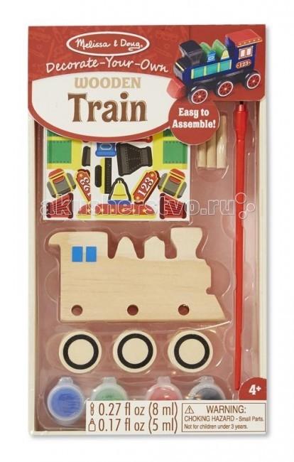 Деревянная игрушка Melissa &amp; Doug Классические игрушки ПоездКлассические игрушки ПоездДеревянная игрушка Melissa & Doug Классические игрушки Поезд - набор для творчества, с помощью которого ваш ребенок сможет создать оригинальный паровозик.   Набор включает в себя: деревянный паровозик, колеса, оси, краски, кисточки и наклейки.  Компания Melissa&Doug придерживается самых высоких стандартов качества и безопасности детских образовательных продуктов для детей. Melissa & Doug - это один из ведущих брендов деревянных игрушек, используемые компанией покрытия и красители нетоксичны.<br>