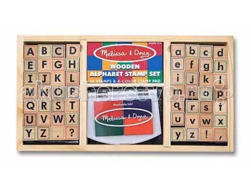 Melissa &amp; Doug Набор печатей - алфавитНабор печатей - алфавитMelissa & Doug Набор печатей - алфавит - включают в себя 56 букв (прописные, строчные и знаки препинания). Штемпельная подушка 4 цветов. Удобный деревянный лоток для хранения.  Melissa & Doug - ведущий мировой производитель игрушек из натуральных материалов, прежде всего из дерева. Вся производимая продукция отличается надежностью, экологичностью и безопасностью для ребенка. Игрушки данной торговой марки предназначены не только для развлечения детей, а в первую очередь ориентированы на раннее развитие и обучение.<br>
