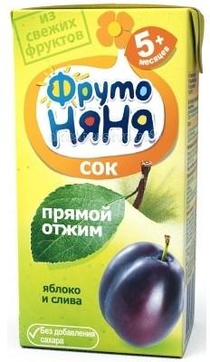 ФрутоНяня Сок Яблоко и слива прямого отжима с 5 мес. 200 мл