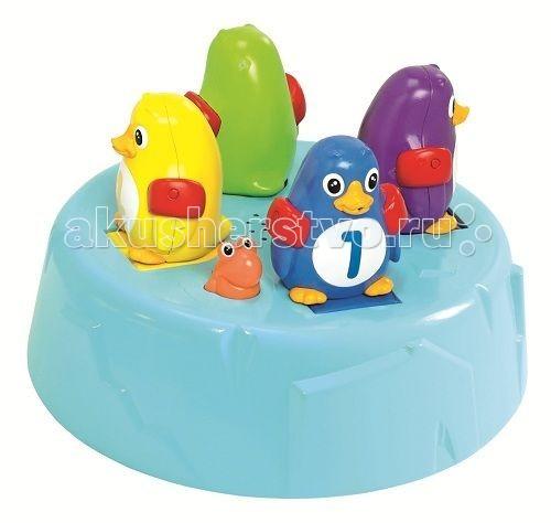 Tomy Остров Пингвинов - прыгуновОстров Пингвинов - прыгуновTomy Остров Пингвинов - прыгунов - с этой великолепной игрушкой купание станет веселым и интересным!   Игрушка представляет собой островок, на котором разместились четыре пингвиненка разной окраски. У каждого пингвина есть свое место, соответствующее ему по цвету. Усади всех на места, и нажми на рыбку, после чего послышится веселая музыка, а пингвинчики начнут прыгать по очереди в воду! Ловите пингвинчиков и начинайте игру снова!  Все пингвинчики пронумерованы, благодаря этому малыш сможет выучить цифры от 1 до 4, познакомиться с цветами и развить моторику.  Высота пингвинов: 7 см  В наборе: пингвинчики - 4 шт островок.  Для работы игрушки требуются батарейки 3 штуки типа ААА, в комплект не входят.  Все игрушки Томи отличает высочайшее японское качество, уровень безопасности и надежность.<br>