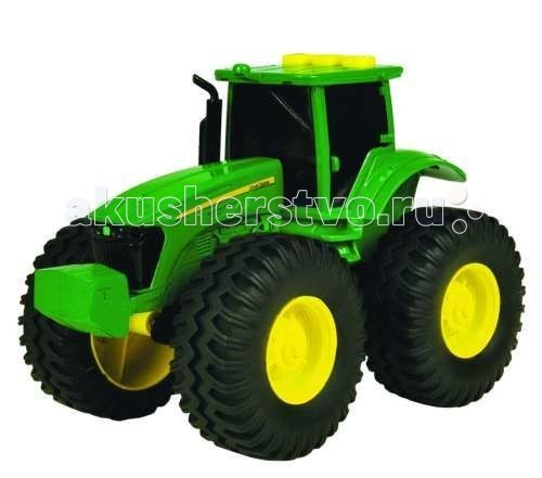 Tomy Трактор с большими колесами с подсветкой и звукомТрактор с большими колесами с подсветкой и звукомTomy Трактор с большими колесами с подсветкой и звуком - мощный, с огромными колесами очень похож на настоящий.   В тракторе соединены характеристики, которые так привлекают маленьких деток: яркий цвет, механическое управление, звук заводящегося мотора, подсветка.  На крыше кабины у него есть 3 кнопки. При их нажатии заводится мотор, издавая звук как настоящий, а также включается подсветка кабины.   Такой пластиковый трактор может стать отличным подарком для вашего ребенка. Работает трактор от 3-х батареек, в комплекте.<br>