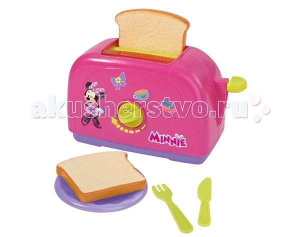 Simba Тостер Minnie MouseТостер Minnie MouseТостер Simba Minnie Mouse - это отличный выбор для девочки, который дополнит набор детской бытовой техники.   Уменьшенная копия кухонного устройства работает совсем, как настоящий тостер: стоит засунуть внутрь кусочки хлеба, идущие в комплекте, и повернуть ручку, как, вуаля, наивкуснейшие тосты готовы!    Особенности:    Эта замечательная копия оригинального тостера работает без батареек.  Чтобы приготовить куклам завтрак достаточно вставить пластмассовые кусочки хлеба в тостер, повернуть рычажок и тосты сами выпрыгнут из тостера.     В наборе:    тостер  2 тоста  тарелка  вилка  ножик<br>