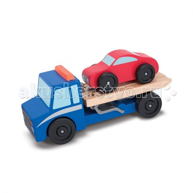 Деревянная игрушка Melissa &amp; Doug Машинка-эвакуаторМашинка-эвакуаторВ набор Melissa & Doug входят машинка-эвакуатор и легковой красный автомобиль. Прицеп эвакуатора раскладывается для погрузки и разгрузки автомобиля. Колеса обеих машин крутятся.  Игрушка изготовлена из экологически чистых, натуральных, безопасных для ребенка материалов.   Melissa & Doug - ведущий мировой производитель игрушек из натуральных материалов, прежде всего из дерева. Вся производимая продукция отличается надежностью, экологичностью и безопасностью для ребенка. Игрушки данной торговой марки предназначены не только для развлечения детей, а в первую очередь ориентированы на раннее развитие и обучение.<br>
