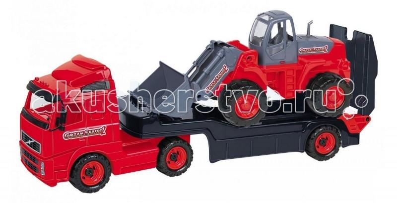 Wader Автомобиль-трейлер+трактор-погрузчикАвтомобиль-трейлер+трактор-погрузчикАвтомобиль трейлер+трактор-погрузчик. Это целый набор спецтехники - 2 самостоятельные и независимые игрушки для разнообразных игр. Детский трактор имеет крепкие колеса на металлической оси, мощный корпус с прозрачной кабиной и движущийся ковш-грейдер, которым можно грести песок, расчищать дорожки в песочнице, проводить погрузочные и строительные работы. Есть все необходимое, чтобы начать грузить строительные материалы в грузовик для перевозки и постройки дома. На этом трейлере можно перевозить и трактор-погрузчик, и автокар, и мотоцикл Харлей. У трейлера в задней части расположен откидывающийся пандус, по которому погрузчик может заезжать и съезжать с платформы, платформа трейлера отсоединяется от тягача. С такими машинками можно играть как вместе, так и отдельно.   Наступает весна и все дети выходят играть на улицу. Для игр во дворе и в песочнице идеально подойдут самосвалы, автомобили с краном, лесовозы. Грузовик позволяет в полной мере имитировать реальные погрузочно-разгрузочные работы, дает возможность применить ребенку свою фантазию, помогает разыгрывать различные ситуации.   Это идеальная игрушка для игр на открытом воздухе и отлично подойдет для игры на даче, во дворе, на загородных участках, на площадках, в песочницах. Игрушки Wader отличаются высоким качеством, дизайном и функциональностью. Яркий и красивый дизайн понравится Вашему малышу!   Играть с машинами понравится любому малышу и доставит удовольствие как мальчику, так и девочке. Кто сказал, что девочки не могут управлять машинами? Им также как и мальчишкам будет очень интересно управлять этой машиной. Эта машина способна решать большие воспитательные задачи, развивает много хороших качеств: помощь друзьям и взрослым, ответственность, заботу, доброту и внимание. Оцените это и учите детей играть!   Детская машина Wader - это пластмассовая игрушка, изготовленная из высококачественного сырья. В производстве этих машин использу