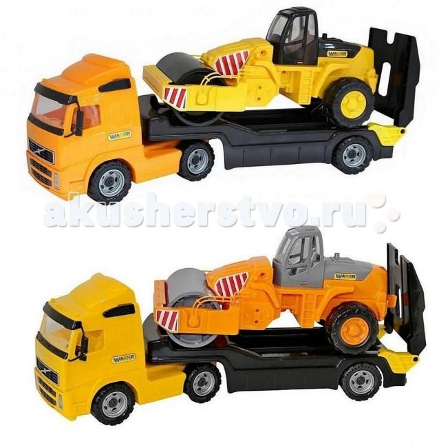 Wader Автомобиль-трейлер+дорожный катокАвтомобиль-трейлер+дорожный катокАвтомобиль трейлер + дорожный каток. Это целый набор спецтехники - 2 самостоятельные и независимые игрушки для разнообразных игр. Детский дорожный каток имеет крепкие колеса на металлической оси, мощный корпус с прозрачной кабиной и движущийся каток, которым можно укладывать асфальт. Есть все необходимое, чтобы начать строительство дороги. На этом трейлере можно перевозить и дорожный каток, и автокар, и мотоцикл Харлей. У трейлера в задней части расположен откидывающийся пандус, по которому погрузчик может заезжать и съезжать с платформы, платформа трейлера отсоединяется от тягача. С такими машинками можно играть как вместе, так и отдельно.   Наступает весна и все дети выходят играть на улицу. Для игр во дворе и в песочнице идеально подойдут самосвалы, автомобили с краном, лесовозы. Грузовик позволяет в полной мере имитировать реальные погрузочно-разгрузочные работы, дает возможность применить ребенку свою фантазию, помогает разыгрывать различные ситуации.   Это идеальная игрушка для игр на открытом воздухе и отлично подойдет для игры на даче, во дворе, на загородных участках, на площадках, в песочницах. Игрушки Wader отличаются высоким качеством, дизайном и функциональностью. Яркий и красивый дизайн понравится Вашему малышу!   Играть с машинами понравится любому малышу и доставит удовольствие как мальчику, так и девочке. Кто сказал, что девочки не могут управлять машинами? Им также как и мальчишкам будет очень интересно управлять этой машиной. Эта машина способна решать большие воспитательные задачи, развивает много хороших качеств: помощь друзьям и взрослым, ответственность, заботу, доброту и внимание. Оцените это и учите детей играть!   Детская машина Wader - это пластмассовая игрушка, изготовленная из высококачественного сырья. В производстве этих машин используются безопасные материалы. Пластик не деформируется и не выгорает под солнцем.<br>
