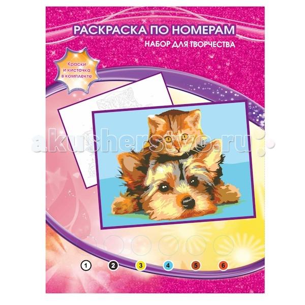 Раскраска Multiart Раскраска по номерам щенок и котёнокРаскраска по номерам щенок и котёнокИграем вместе Multiart Раскраска по номерам щенок и котёнок.  С раскраской по номерам щенок и котёнок каждый сможет стать начинающим художником и создать свою собственную картину! Надо только аккуратно нанести необходимую краску на отмеченный для нее участок на основе. Таким образом, шаг за шагом у вашего ребенка получатся две картины с изображением. В набор входят шесть акриловых красок, кисть, палитра и подробная инструкция на русском языке. Раскраска по номерам способствует развитию усидчивости, аккуратности, мелкой моторики рук и творческих способностей.<br>