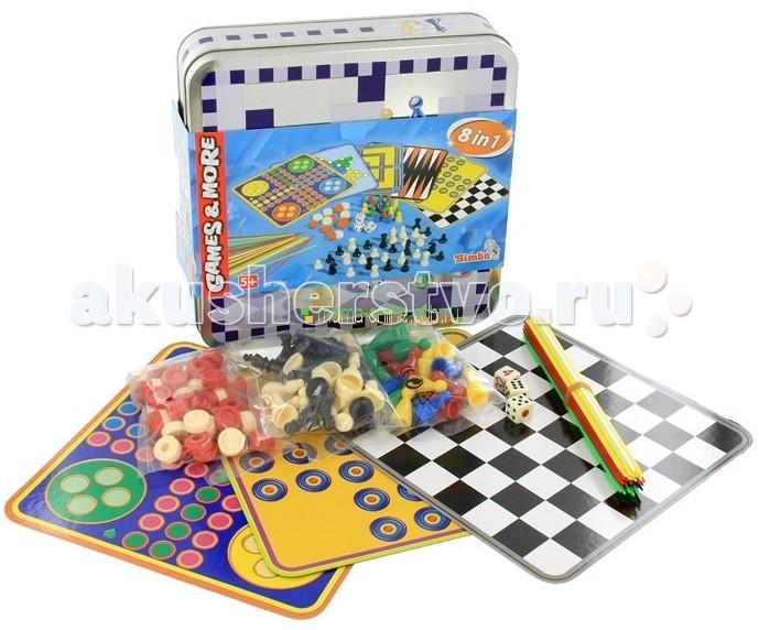 Simba Набор настольных игр в дорогу 8 шт.Набор настольных игр в дорогу 8 шт.Игры настольные Simba 8 в 1  Собираетесь в длительную поездку и переживаете, что малышу будет скучно? Возьмите с собой отличный Набор настольных игр в дорогу. 8 увлекательных игр умещаются в удобную  коробку из прочного металла. Здесь ребенок найдет шахматы и нарды, шашки и другие игры. Каждая игра имеет свой индивидуальный дизайн и цветовую гамму.   Разнообразные игры не позволят ребенку заскучать ни на минуту, будут способствовать развитию его мышления, памяти, логики и терпения. В любой момент Вы сможете составить ему компанию и повеселиться все вместе!  Размер коробки: 20х20 см<br>