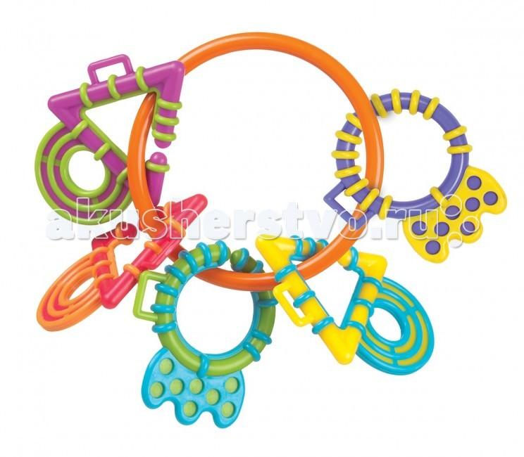 Прорезыватель Playgro Волшебные кольца 4011459Волшебные кольца 4011459Яркий красочный прорезыватель, состоящий из пяти разноцветных фигурок, несомненно порадуют малыша. Фигурки, изготовленные из мягкого, безопасного пластика, крепятся на большом пластиковом кольце, которые легко отсоединяются. Превосходны для маленьких ручек.  От 4 месяцев.<br>