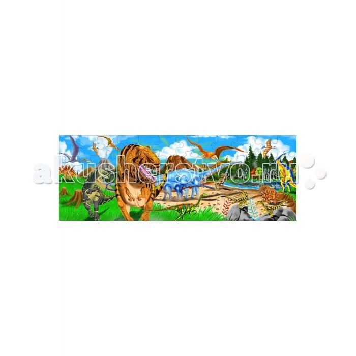 Melissa &amp; Doug Напольный Пазл Динозавры 48 элементовНапольный Пазл Динозавры 48 элементовДеревянная игрушка Melissa & Doug Напольный Пазл, Динозавры - представляют собой рисунок на тему древних обитателей земли из 48 деталей.   Элементы головоломки легко брать в руки. Кроме того, они не деформируются. Пазлы лучше всего собирать на ровной поверхности. В процессе игры ребенок должен выложить животных из элементов разной формы.   Головоломка знакомит с жизнью на планете в доисторические времена. Развивает тонкую моторику и улучшает координацию движений.  Компания Melissa&Doug придерживается самых высоких стандартов качества и безопасности детских образовательных продуктов для детей. Melissa & Doug - это один из ведущих брендов деревянных игрушек, используемые компанией покрытия и красители нетоксичны.<br>