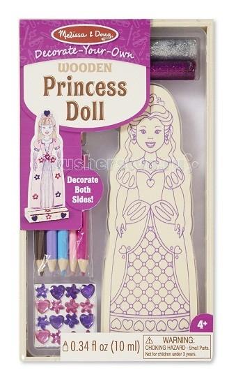 Деревянная игрушка Melissa &amp; Doug Классические игрушки ПринцессаКлассические игрушки ПринцессаДеревянная игрушка Melissa & Doug Классические игрушки Принцесса - подарит Вашему ребенку не один час радостной и увлеченной игры. Ведь она представляет собой полноценный набор для творчества.  Красивую деревянную игрушку ваш ребенок может создать самостоятельно либо с вашей помощью. Для украшения фигурки в наборе есть карандаши, блестки, краски, клей и яркие наклейки. Готовую принцессу можно установить на деревянной подставке, сделав ее любимой игрушкой ребенка.  Помимо прекрасной принцессы, в набор входит: карандаши, блестки, краски, клей и наклейки. Кроме того, в комплекте есть деревянная подставка.  Компания Melissa&Doug придерживается самых высоких стандартов качества и безопасности детских образовательных продуктов для детей. Melissa & Doug - это один из ведущих брендов деревянных игрушек, используемые компанией покрытия и красители нетоксичны.<br>