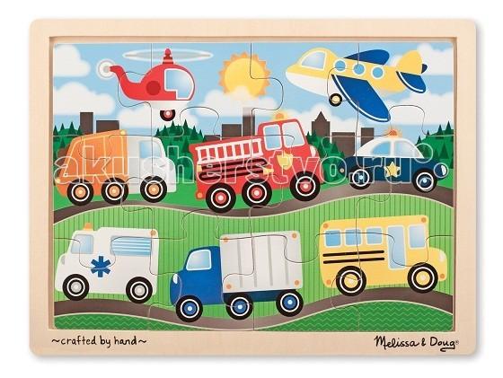 Деревянная игрушка Melissa & Doug Пазл Транспорт 12 элементов