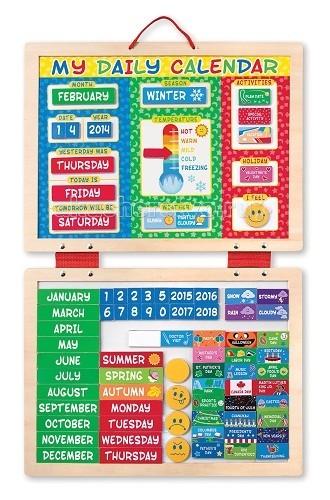 Деревянная игрушка Melissa &amp; Doug Мой первый магнитный календарь 90 магнитовМой первый магнитный календарь 90 магнитовДеревянная игрушка Melissa & Doug Мой первый магнитный календарь 90 магнитов - ежедневно заполняя календарь, Ваш малыш научится внимательно наблюдать за окружающим его миром, знакомится с природными явлениями, запоминать названия и особенности времен года, названия месяцев и дней недели.  Компания Melissa&Doug придерживается самых высоких стандартов качества и безопасности детских образовательных продуктов для детей. Melissa & Doug - это один из ведущих брендов деревянных игрушек, используемые компанией покрытия и красители нетоксичны.<br>