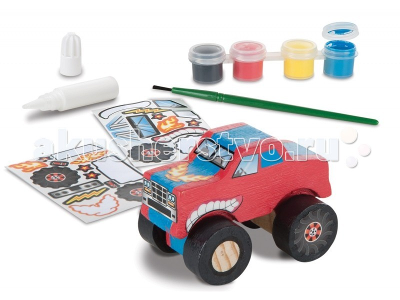 Деревянная игрушка Melissa &amp; Doug Классические игрушки Грузовик-монстерКлассические игрушки Грузовик-монстерДеревянная игрушка Melissa & Doug Классические игрушки Грузовик-монстер - отличный выбор для любого мальчишки. Ведь он сможет создать машинку своей мечты.  Набор включает в себя конструктор для сбора машинки: кабину, колеса, оси, а так же наклейки, краски, кисть и клей для придания монстрику завершенного вида.  Компания Melissa&Doug придерживается самых высоких стандартов качества и безопасности детских образовательных продуктов для детей. Melissa & Doug - это один из ведущих брендов деревянных игрушек, используемые компанией покрытия и красители нетоксичны.<br>