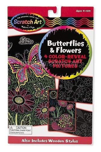 Melissa &amp; Doug Scrach art Цветы и бабочкиScrach art Цветы и бабочкиMelissa & Doug Scrach art Цветы и бабочки - набор включает в себя 4 картинки с изображением бабочек и цветов, с помощью деревянного стилуса аккуратно маленькими штрихами по изображению снимите верхний слой покрытия, при этом получите сказочные изображения бабочек и цветов.  У ребенка вырабатывается усидчивость, точность движений, стремление к достижению конечной цели, а также проявляется фантазия.  Компания Melissa&Doug придерживается самых высоких стандартов качества и безопасности детских образовательных продуктов для детей. Melissa & Doug - это один из ведущих брендов деревянных игрушек, используемые компанией покрытия и красители нетоксичны.<br>