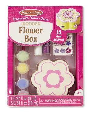 Melissa &amp; Doug Набор создай свою шкатулку ЦветокНабор создай свою шкатулку ЦветокMelissa & Doug Набор создай свою шкатулку Цветок - ваша малышка самостоятельно смастерит милую шкатулку, в которой сможет хранить свои сокровища и украшения.  В наборе: деревянный шкатулку, которую надо преобразить с помощью включенных в набор 4 банок краски, кисточки, цветных наклеек и клея с блестками.  Компания Melissa & Doug придерживается самых высоких стандартов качества и безопасности детских образовательных продуктов для детей. Melissa & Doug - это один из ведущих брендов деревянных игрушек, используемые компанией покрытия и красители нетоксичны.<br>