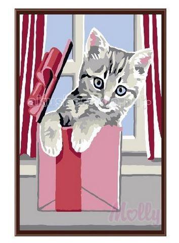 Molly Картина по номерам Котёнок 20х30 смКартина по номерам Котёнок 20х30 смРаскраска по номерам Molly Котёнок 10 цветов - оригинальный набор, позволяющий создать первую картину, благодаря поэтапной раскраске полотна   В наборе:    холст из натурального хлопка на деревянном подрамнике (холст предварительно прогрунтован);  нейлоновые кисти разного размера 3 шт.;  акриловые краски (устойчивые к выцветанию);  крепление на стену.   Размер: 20 х 30 см Количество цветов: 10 Уровень сложности: средний<br>