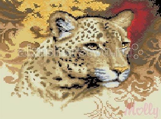 Molly Мозаичная картина Портрет леопарда 40х50 смМозаичная картина Портрет леопарда 40х50 смМозаичная картина Molly Портрет леопарда 22 цвета - оригинальный набор, позволяющий создать первую картину, благодаря поэтапной выкладке мозаикой полотна.    В наборе:    Тканевый холст с клеевым слоем и с нанесенной схемой рисунка;  Металлический пинцет;  Пластиковый контейнер для элементов мозаики;  Специальный карандаш;  Клей-липучка для карандаша;  Комплект разноцветных мозаичных элементов диаметром 2,5 мм;   Размер: 40 х 50 см Количество цветов: 22 Уровень сложности: трудный<br>