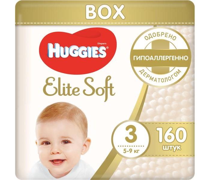 Huggies Подгузники Elite Soft 3 (5-9 кг) 160 шт.Подгузники Elite Soft 3 (5-9 кг) 160 шт.Подгузники Elite Soft содержат 100% натуральный хлопок.  Инновационная разработка компании – супер-мягкий слой «Текстор» со специальными подушечками обеспечивают невероятную мягкость продукту и создают нежную преграду между кожей малыша и жидким стулом.   Особенности: Подгузник содержит натуральный 100%-ный хлопок Уникальная мягкость Особенная улучшенная мягкость внутри подгузника Новые мягкие подушечки создают надежную преграду между кожей малыша и жидким стулом Абсолютная впитываемость  Новый супер мягкий слой SoftAbsorb впитывает жидкий стул и влагу за секунды, помогая сохранить кожу малыша сухой Идеальное прилегание Суперэластичный поясок обеспечивает плотное, но вместе с этим ультрамягкое прилегание к коже малыша Удобные застежки легко застегиваются в любом месте подгузника Натуральные материалы Натуральный 100%-ный хлопок Технология производства с использованием гиппоаллергенных пористых материалов позволяет коже малыша дышать Индикатор влаги Цвет индикатора темнеет, когда приходит время сменить подгузник  Huggies Elite Soft* – нежные, как мамино прикосновение!  Рекомендуется менять подгузник каждые 3 часа для самой лучшей заботы о Вашем малыше.<br>